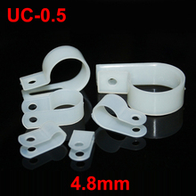 "150pcs UC-0.5 4.8mm 3/16"" White Plastic Nylon Wire Hose Tube Fansten R-Type Fixed Cable Tie Mount Organizer Holder R Clip Clamp"