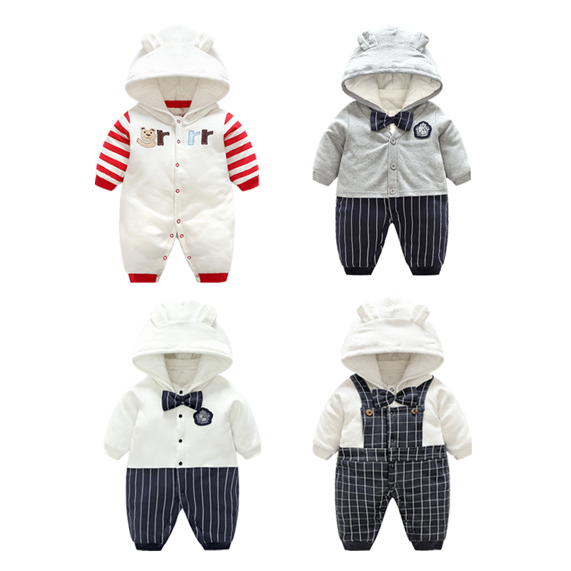 Gentleman Baby Winter Rompers Hooded Penguin Romper Child Boys Girls Warm Clothes Sling Kids Jumpsuit Baby clothes set With Hat<br>