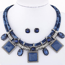 Fashion Jewelry Sets Crystal Resin Collares Square Necklaces & Earrings Set Colar For women Jewelry Set Collier Femme