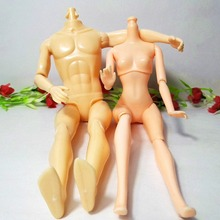 2Pcs/lot Doll Male Female Naked Bodies Necessary For Barbie Dolls DIY All Joints Moveable Ken Boy Body Girl Body Free Shipping(China)