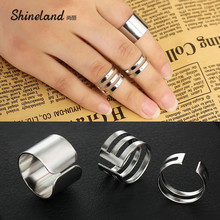 Shineland 2017 New Arrival 3Pcs Ring Sets Fashion Top Of Finger Over The Midi Tip Finger Above The Knuckle Open Ring For Women(China)