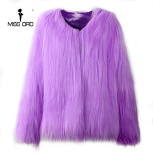 Missord 2017 Sexy Autumn And Winter Washed Hair Fox Fur Imitation Fur Coat  Long Sleeve Sweater  FT8666