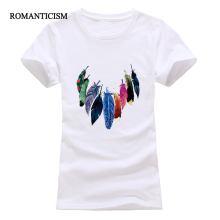 Romanticism 2017 fashion summer women t shirts Indian feather print short sleeve t shirt women brand clothing tops tees