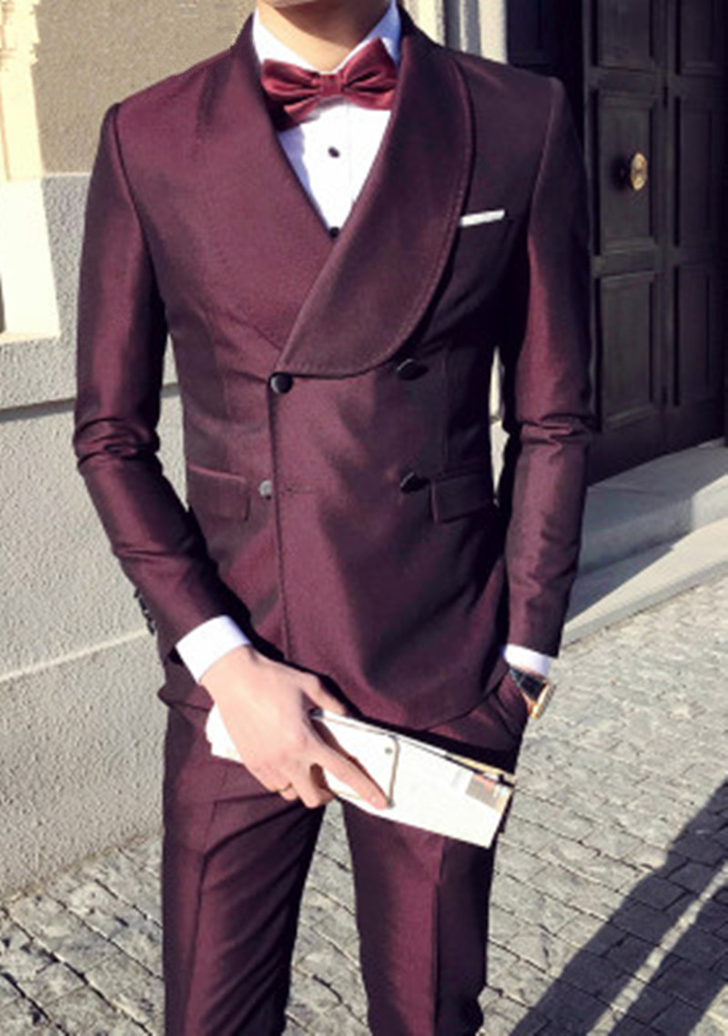 Mens Suits Pants 3 Pieces Double Breasted Suits Mens Burgundy Tuxedo Slim Fit Formal Wedding Prom Dress Suits 2018 Thorndike