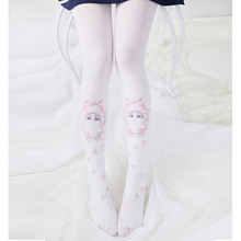 Buy Princess sweet lolita pantyhose Japanese sweet soft sprout cat flower print cute Lolita soft girl students pantyhose YMX29