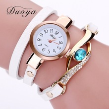 Duoya Brand Watch Women Luxury Gold Eye Gemstone Dress Watches Women Gold Bracelet Halloween Gift Leather Quartz Wristwatches(China)