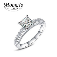 Moonso Hot! Real 925 Sterling Silver Wedding Engagement Ring 1.5 Carat Emerald Princess Cut CZ Diamond Jewelry Wholesale  R645