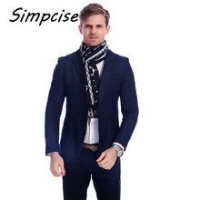 [Simpcise] Popular New Design Man favorite winter long soft Warm Scarves Geometric Wool men Wraps A3A18903(China)
