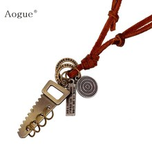 Alloy Vintage Saws Pendant Necklace for Men Women Genuine Leather Chain Adjustable Leather Cord Mens Necklace Chain(China)