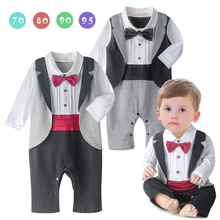 Baby tuxedo jumpsuit boy gentlemen bow tie rompers 2 colors long sleeve plaid wedding birthday party clothes - Jane Ann Store store