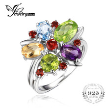 JewelryPalace Flower Multicolor 3.1ct Natural Amethyst Garnet Peridot Citrine Blue Topaz Cocktail Ring 925 Sterling Silver 2016