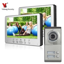 Yobang Security Free Ship 7Inch Cheap Multi Apartments Video Door Phone Villa Doorphone Door Intercom 1 Camera and 2 Monitors