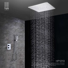 HPB Ceiling Mounted Big Rainfall Shower Head System Bath Rain Mixer Shower Combo Set Brass Polished Chrome With Concealed Box