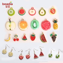 Fashion Cute Enamel Watermelon/Strawberry/Kiwifruit/Lemon Charms Fruit Charm Pendant For Handmade DIY Earring Findings Jewelry