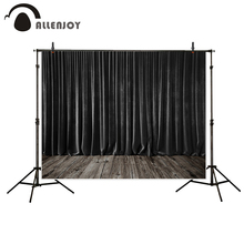 Allenjoy photography background Black stage curtains wooden floor wedding theme backdrop photo studio camera fotografica