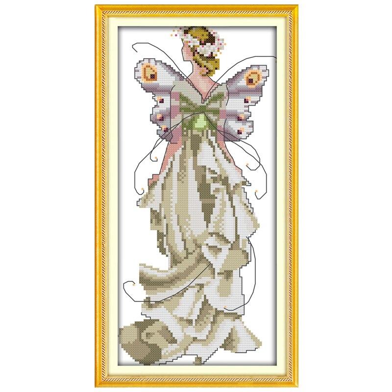 Вышивка крестом ангел цветочный 4