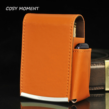 COSY MOMENT Brand High Quality Leather Cigarette Case Box Smoke Holder Storage Cigarette Wallet Purse With Lighter Pouch  YJ206