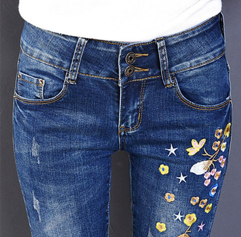 2017 new women Embroidered Flower Jeans Classic high Waist Denim Pants Female Slim stretch Jeans S217Одежда и ак�е��уары<br><br><br>Aliexpress