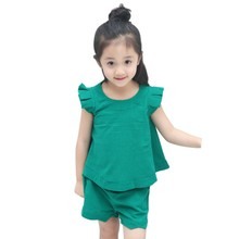 2PCS Lovely Baby Girls Summer Green Outfits Set Sleeveless T-shirt+Short Pants for 1-6Y Kids(China)