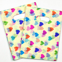 15*20cm Colourful Heart Small Plastic Gift Packaging Hot Plastic Bags With Handle Jewelry Packaging100pcs/lot(China)