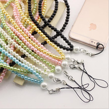 imitate Pearl Neck Necklace Strap Lanyard U Disk ID Work Card Mobile Cell Phone Chain Straps Keychain phone Hang Rope Z519