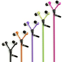 New Mic Earphones Creative High Quality Stereo Zipper Hands-Free and Fantastic Zip Cable phones Wired 3.5 Nice Gift
