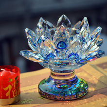 wholesale 36pcs/lot Blue crystal glass candle holder candlestick(China)