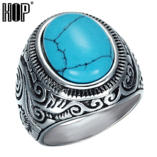 HIP Punk Gothic Carved Flower Turquoises Rings Heavy Metal Casting Titanium Stainless Steel Ring for Men Jewelry
