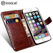 Wallet Leather Case For iPhone 6 6S / 6 6S Plus Luxury Coque Cover for iPhone 6 S Plus Capa Fundas With Card Slot TOMKAS Brand