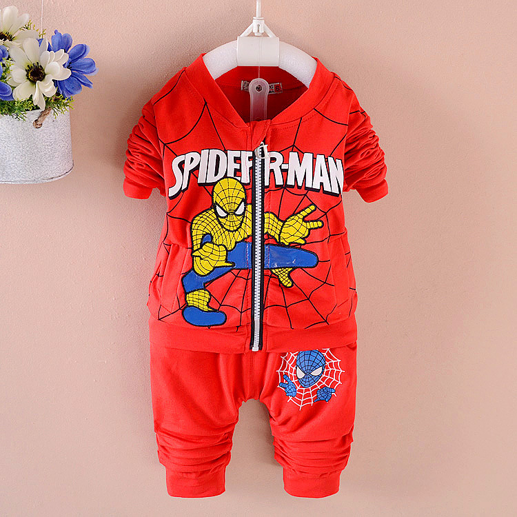 Kids Boys Spring Autumn 2017 New Childrens Spiderman Clothing Baby Hooded Roupas Infantis Menino Sweater Piece Sports Clothes<br><br>Aliexpress