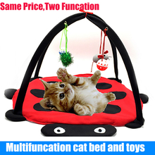 Pet Cat Bed Cat Play Tent Toys Mobile Activity Playing Bed, Toys Cat Bed Pad Blanket House, Pet Furniture Cat House With Ball(China)