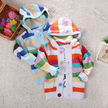 Hot Boys Girls Baby Sweaters Rainbow stripes Kids Knitted Winter Autumn Pullovers Hooded Open Body Warm Outerwear Boy Sweaters(China)