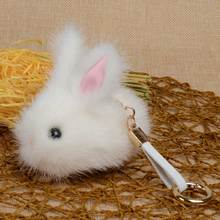 Chanfar Fashion Lovely Real Mink Fur Rabbit Shape Pendant Keychain Women Bag Car Charm Phone Key Rings For Women Girl Gift