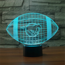 Rugby Football lamp Acrylic NightLight 3D LED Touch Switch Colorful calgary stampeders Illusion Table lamp Home Decor USB Lamp