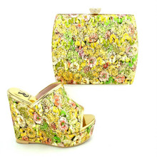 DSC08 New Design African Shoes And Bag Set Good Selling Woman Sandals Shoes High Heels Pumps With Purse Hot Sale