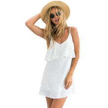 Gwirpte 2017 Off shoulder ruffle Dot summer dress women White strap chiffon beach dress Boho party sexy dresses vestido 040(China)