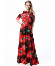 XL-7XL O neck off shoulder summer beach dress floor length sexy beautiful maxi dress plus size printed big dress elegant ladies