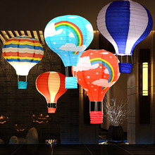 5 pcs 12/16 inch Hot Air Balloon Shape Striped Paper Lantern Wedding Festival Christmas Birthday Celebration Decorations(China)