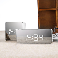 New Multifunctional Noiseless LED Mirror Clock Digital Display Time Temperature Night Light Alarm Clock Snooze Light-emitting(China)