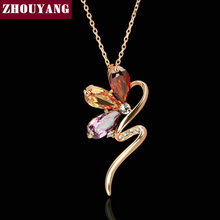 ZHOUYANG Top Quality ZYN074 Magic Snake Necklace Rose Gold Color Fashion Jewellery Nickel Free Pendant Crystal(China)