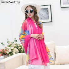 2017 Hot Sale Imitation Silk Shawl Sexy Women Beach Scarves Printing Scarf Pashmina American Russian Most Popular Sexy Scarf2017(China)
