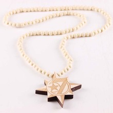 Moon Star 7 Necklace Pendant GOOD WOOD Hip Hop Beads Wooden Necklaces Fashion Jewelry Beat Gift(China)