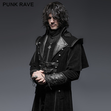 PUNK RAVE Gothic Leather Belts Crimp Shoulder Zip-lined Men Long Trench Coat Black Jacket Overcoats Halloween Christmas Party(China)
