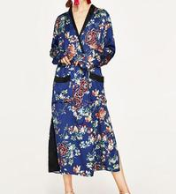 Wishbop NEW Fashion Woman Blue Long kimono V-neck long sleeves contrasting patch pocket Fastens with buttons belted side slits