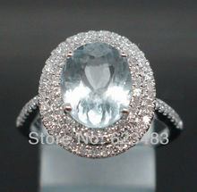4.00CT SOLID 14K WHITE GOLD NATURAL BLUE AQUAMARINE . ENGAGEMENT RING