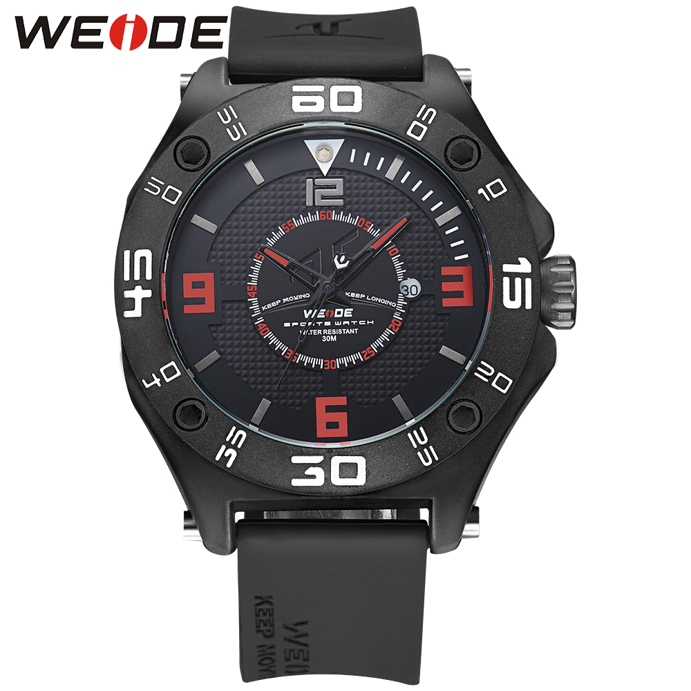 WEIDE Men Sport Watches Analog Calendar Date Quartz Movement Watches Water Resistant Silicone Strap Buckle Watch 22 mm Red<br>