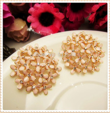 AL729117,30mm flowers rhinestone buttons,DIY hair ornaments handmade bow,Rhinestone faceplate diamond clasp(China)