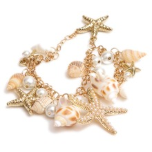 2015 New Fashion Vacation Hot Sale Jewelry Women/Girls Exquisite Alloy Bracelet With Starfish & Conch & Pearl Pendants