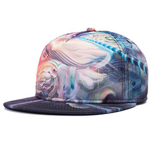 Paradise Cloudy Sky Polyester Caps Nice 3D Heat Transfer Printing Snap Back Cap Custom Team Hats