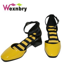 2017 leather sandals thick heel square toe single shoes button thick heel white toe cap covering women's sandal(China)
